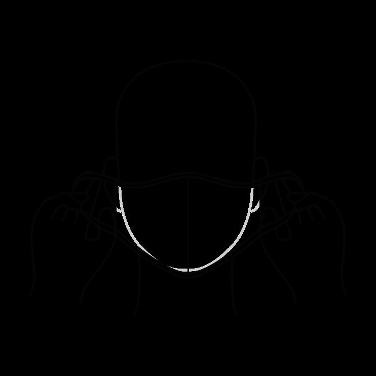 Toca solo los adaptadores de la mascarilla para las orejas